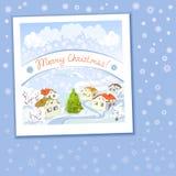 Tarjeta de Navidad con paisaje rural y los copos de nieve Imagenes de archivo
