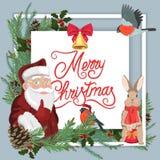 Tarjeta de Navidad con Papá Noel stock de ilustración