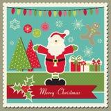 Tarjeta de Navidad con Papá Noel Imágenes de archivo libres de regalías