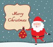 Tarjeta de Navidad con Papá Noel Fotos de archivo