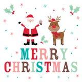 Tarjeta de Navidad con Papá Noel lindo y el reno Imagen de archivo libre de regalías