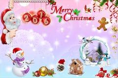 Tarjeta de Navidad con Papá Noel 2016 Fotografía de archivo libre de regalías