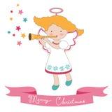 Tarjeta de Navidad con poco ángel Imágenes de archivo libres de regalías