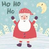 Tarjeta de Navidad con Santa Claus que dice Ho ho ho stock de ilustración