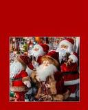 Tarjeta de Navidad con Santa Clauses sin subtítulos Fotos de archivo libres de regalías