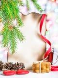 Tarjeta de Navidad con té y galletas Fotografía de archivo