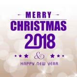 Tarjeta de Navidad con tipográfico púrpura oscuro ilustración del vector
