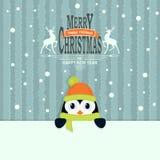 Tarjeta de Navidad con tonalidad ligera de la turquesa con un pequeño pingüino Stock de ilustración