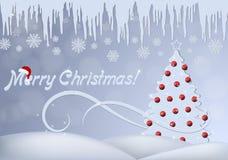 Tarjeta de Navidad con un árbol de navidad adornado con las bolas, los carámbanos y los copos de nieve rojos libre illustration