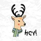 Tarjeta de Navidad con un ciervo   ilustración del vector