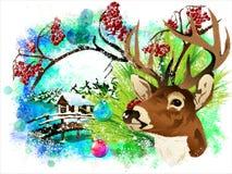 Tarjeta de Navidad con un ciervo y un piñonero ilustración del vector