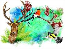 Tarjeta de Navidad con un ciervo y un piñonero en un fondo abstracto colorido stock de ilustración