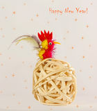 Tarjeta de Navidad con un gallo Año del gallo en el horóscopo chino Imagenes de archivo