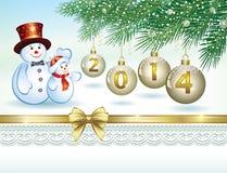 Tarjeta de Navidad con un muñeco de nieve Fotos de archivo libres de regalías
