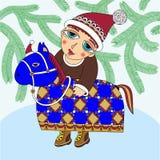 Tarjeta de Navidad con un muchacho Imagenes de archivo