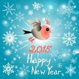 Tarjeta de Navidad con un pájaro Imagen de archivo libre de regalías