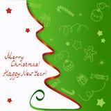 Tarjeta de Navidad con un saludo Foto de archivo
