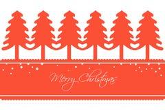 Tarjeta de Navidad con una fila de árboles Imágenes de archivo libres de regalías