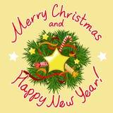 Tarjeta de Navidad con una guirnalda decorativa Fotos de archivo libres de regalías