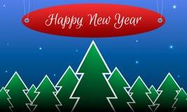 Tarjeta de Navidad con una imagen del bosque y del th Imagen de archivo libre de regalías