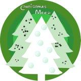 Tarjeta de Navidad con vector del árbol de Navidad tres stock de ilustración