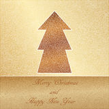 Tarjeta de Navidad, cordón elegante en un fondo del oro Fotos de archivo libres de regalías