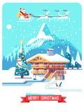 Tarjeta de Navidad Días de fiesta en pueblo Paisaje detallado de la montaña con la casa de campo Ejemplo plano del vector Fotos de archivo