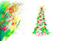 Tarjeta de Navidad de la acuarela Foto de archivo