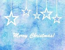 Tarjeta de Navidad de la acuarela Fotos de archivo