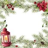 Tarjeta de Navidad de la acuarela Rama del abeto con acebo, el muérdago, la poinsetia y la linterna roja Frontera del árbol del A Fotografía de archivo