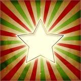 Tarjeta de Navidad de la explosión de la luz de la vendimia con la estrella Imagen de archivo