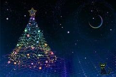 Tarjeta de Navidad de la física de Quantum ilustración del vector