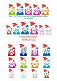 Tarjeta de Navidad de la familia, conjunto del icono de la gente del vector Fotografía de archivo libre de regalías
