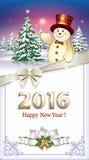 Tarjeta de Navidad 2016 de la Feliz Año Nuevo con un árbol de navidad y un muñeco de nieve Imagen de archivo libre de regalías