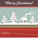 Tarjeta de Navidad de la historieta con el árbol de Navidad, bolas, hous Imagenes de archivo