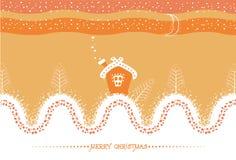 Tarjeta de Navidad de la historieta con landsca de la casa y de la nieve stock de ilustración