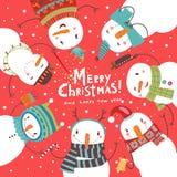 Tarjeta de Navidad de la Navidad Danza redonda de muñecos de nieve Foto de archivo
