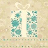 Tarjeta de Navidad de la vendimia con el rectángulo de regalo. EPS 8 Imagen de archivo libre de regalías