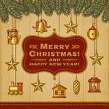 Tarjeta de Navidad de la vendimia con las decoraciones Fotografía de archivo libre de regalías