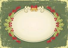 Tarjeta de Navidad de la vendimia con los elementos del día de fiesta Fotos de archivo libres de regalías