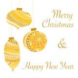 Tarjeta de Navidad de oro Fotografía de archivo
