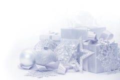 Tarjeta de Navidad de plata fotografía de archivo