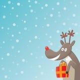 Tarjeta de Navidad de Rudolph Imágenes de archivo libres de regalías