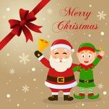 Tarjeta de Navidad de Santa Claus y del duende ilustración del vector