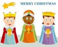 Tarjeta de Navidad de tres Wisemen Foto de archivo libre de regalías