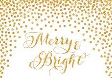 Tarjeta de Navidad del confeti del brillo del oro fotografía de archivo