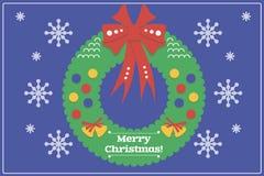 Tarjeta de Navidad del diseño/fondo planos con Wreat Fotografía de archivo