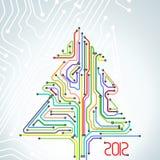 Tarjeta de Navidad del esquema colorido del metro Fotos de archivo libres de regalías
