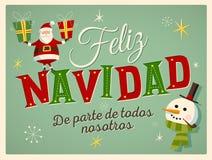 Tarjeta de Navidad del estilo del vintage en español ` De los nosotros de Feliz Navidad de parte de todos del ` libre illustration