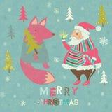 Tarjeta de Navidad del invierno con Santa y el Fox Foto de archivo libre de regalías